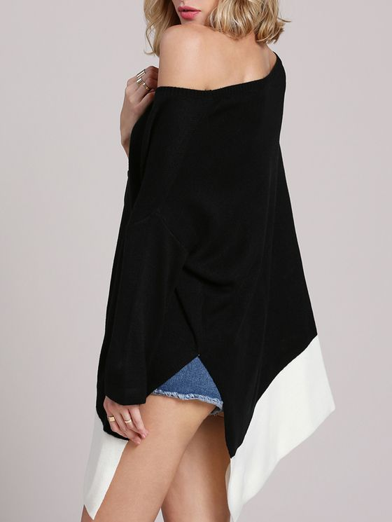 Online shopping for Black White Half Sleeve Color Block Asymmetric Sweater Cape from a great selection of women's fashion clothing & more at MakeMeChic.COM.