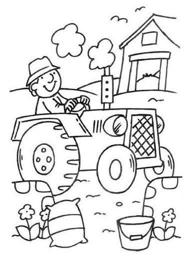 granjero con el tractor fichas infantiles de la granja para imprimir y colorear para niños