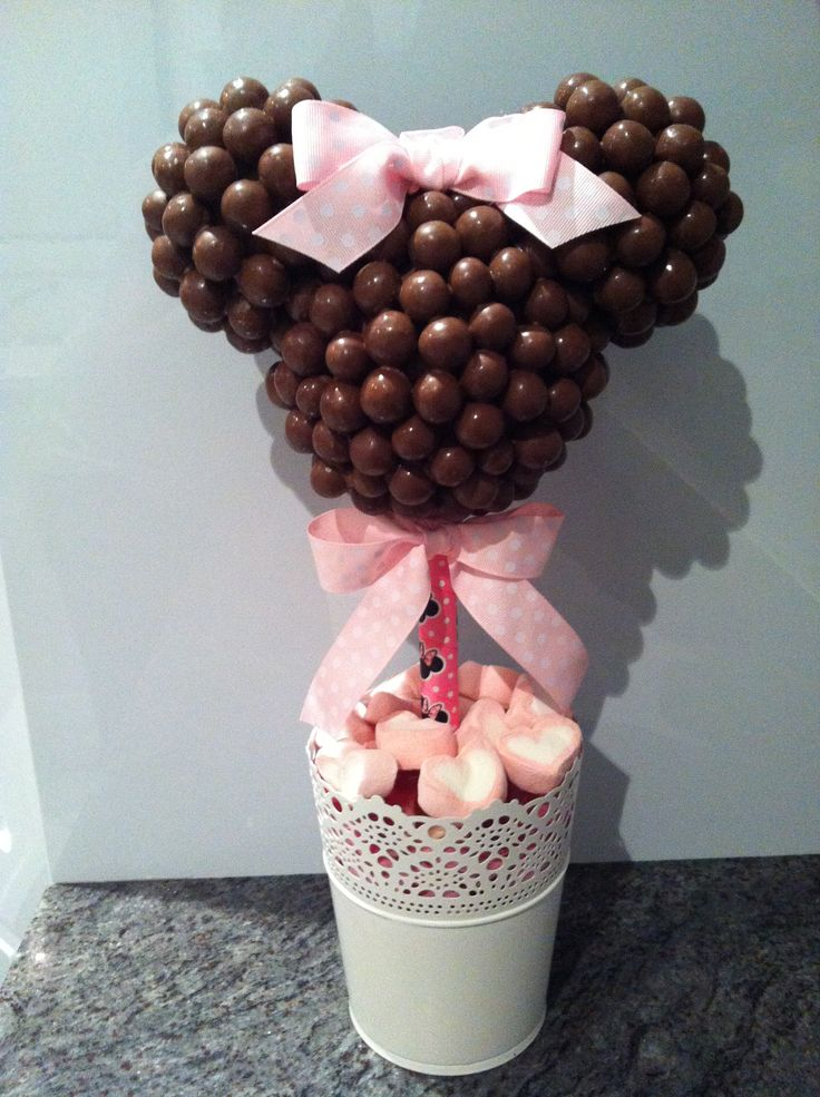 Pink Minnie Mouse Malteser Lolly Tree.