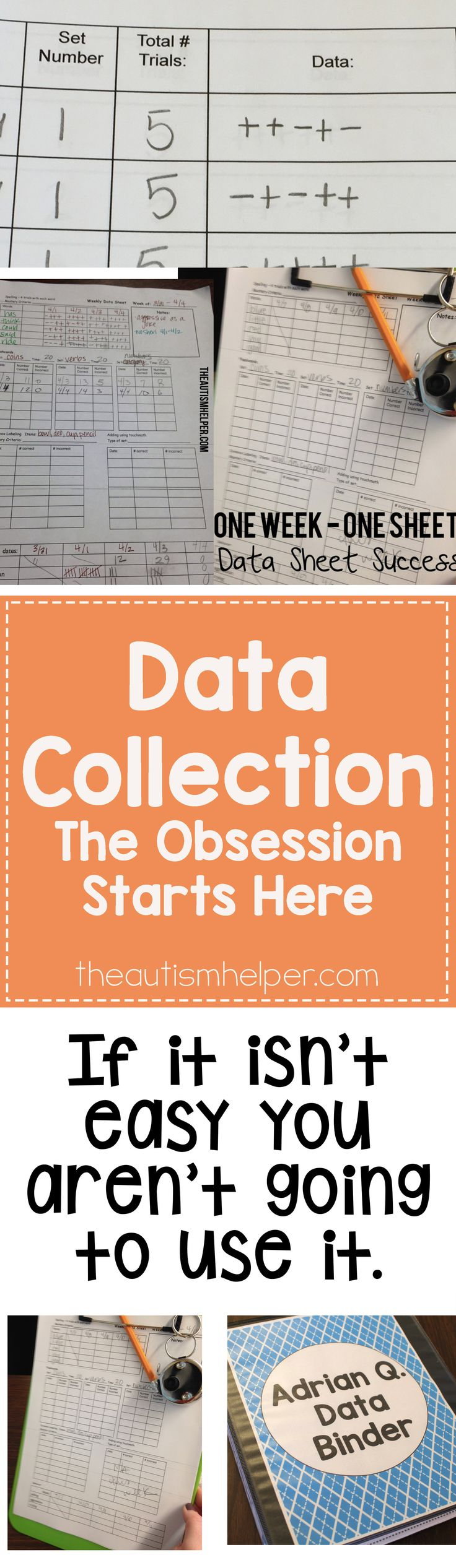 Taking data gives us the facts about what is (or isn't) working in our classroom & should drive future decisions. We're discussing the crucial role data plays & how to set up your systems!  From theautismhelper.com #theautismhelper