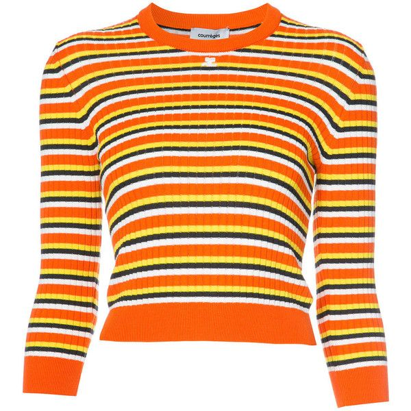 Courr?ges Orange Multi Striped Hem Long Sleeve Sweater ($415) ❤ liked on Polyvore featuring tops, sweaters, multi color sweater, bodycon tops, striped top, colorful striped sweater and orange sweater