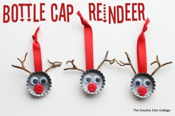 Make Bottle Cap Reindeer