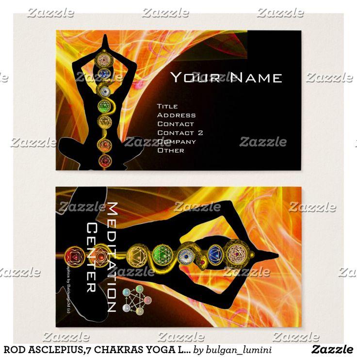 ROD ASCLEPIUS,7 CHAKRAS YOGA LOTUS POSE Yellow Black Business Card  #healer #meditation #health #chackra #healing