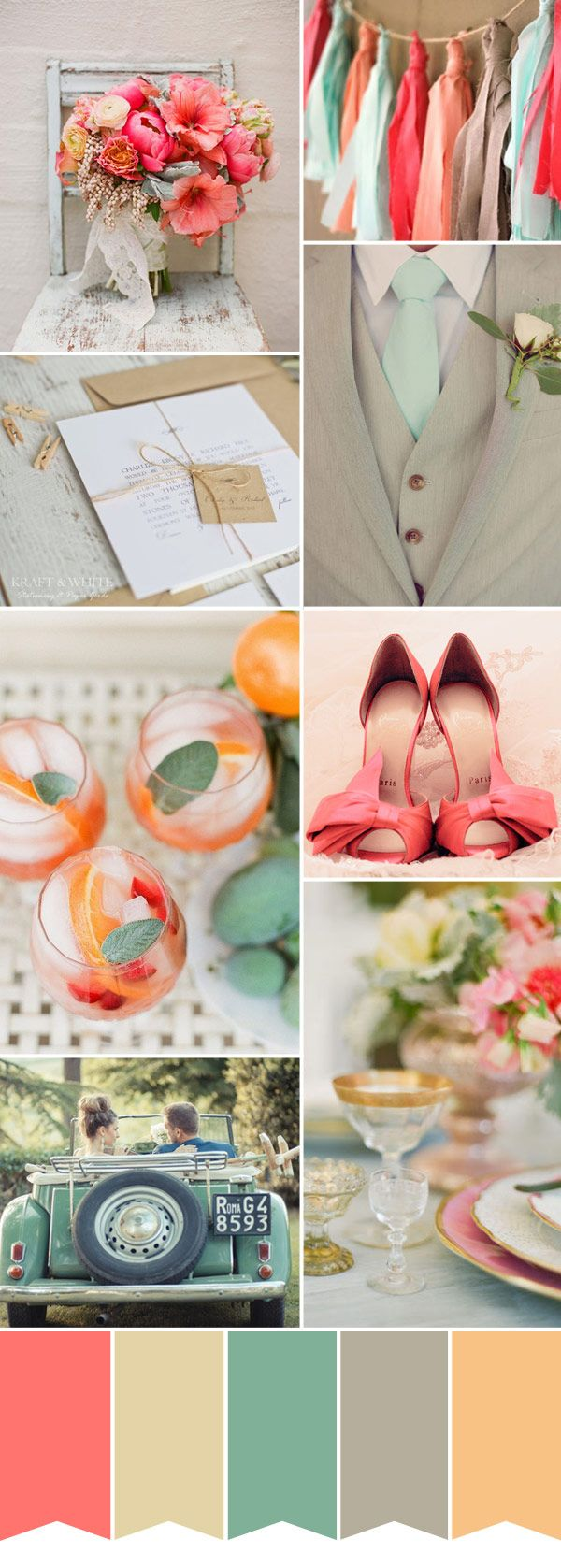 Dreaming of a sunny Spring wedding with this pretty colour palette of mint green, coral pinks and cream - uplifting colours for a celebration.