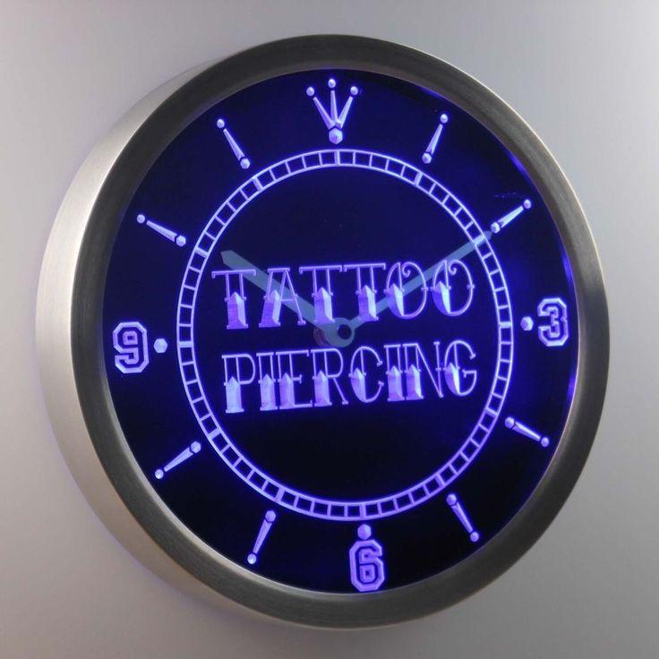 nc0293-b Tattoo Piercing Shop Gift Neon Sign LED Clock #AdvProClock