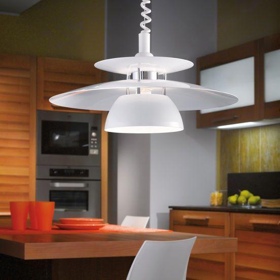 Passar perfekt för köket i vit metall, hiss funktion på kabeln gör så att du lätt kan justera höjden.