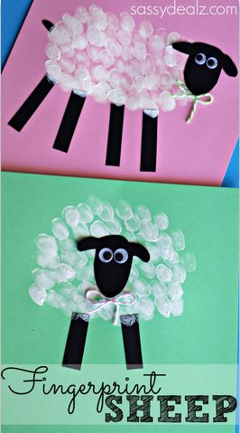 Fingerprint Sheep Craft! #Easter craft for kids | http://www.sassydealz.com/2014/03/fingerprint-sheep-craft-kids.html