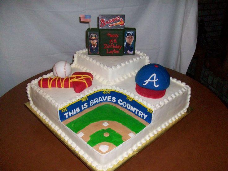 braves baseball cake | Cake was done in buttercream with scoreboard, baseball hat, baseball ...