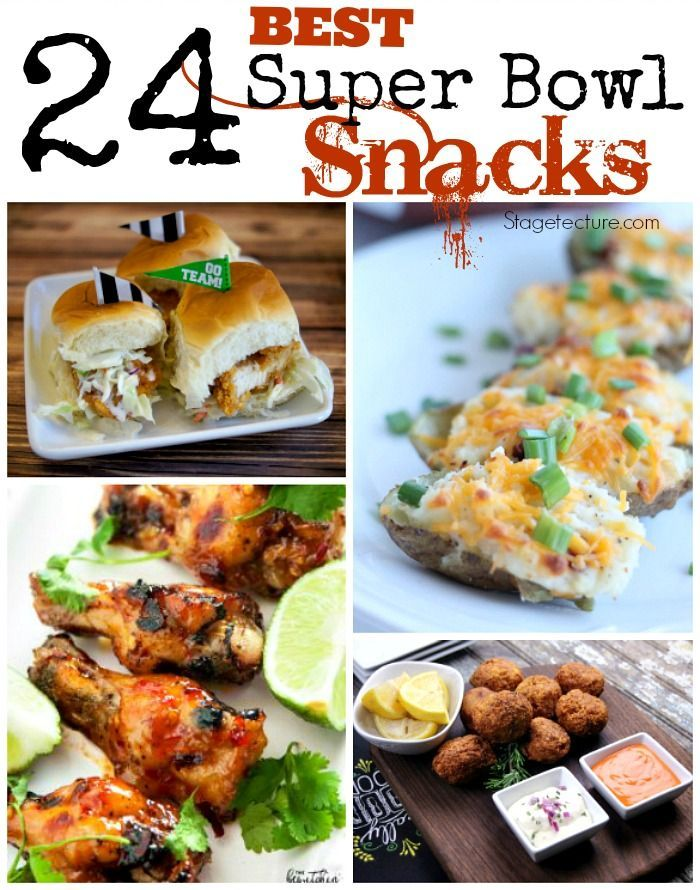 24 Super Bowl snacks Appetizers for the big game! Get started on your menu full of snacks, finger foods and delicious party foods for your favorite fans. #superbowl #biggame #tailgating #food