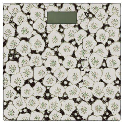 #Black White Print Art Floral  Asian Japanese Bathroom Scale - #Bathroom #Accessories #home #living