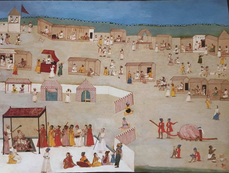 Murshidabad Artist - A Ruler encamped in a Village - c.1770