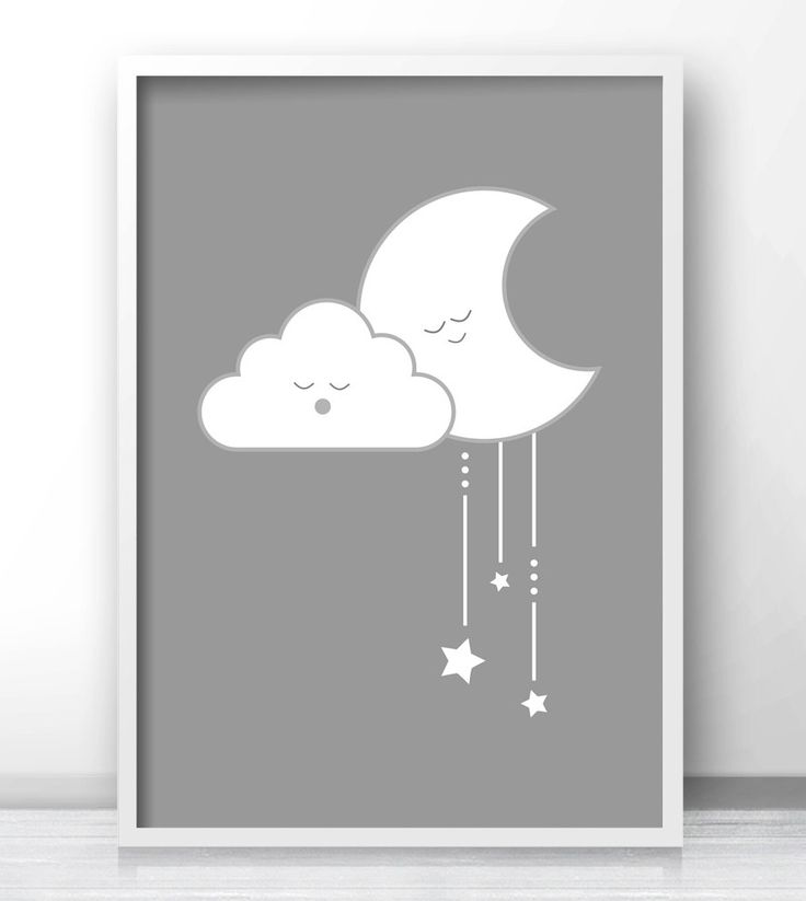 Printable Gender Neutral Baby Art, Moon And Stars Kids Wall Art, Gray Nursery Wall Art, Gender Neutral Nursery Decor
