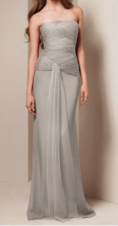Vera Wang White Collection Light Gray Silver Bridesmaid