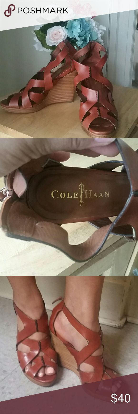 Cole Haan wedges Summer is around the corner and these cute shoes will make your outfits so much more fun!!!  Right shoe is a little scuffed, see last pic. Cole Haan Shoes Wedges