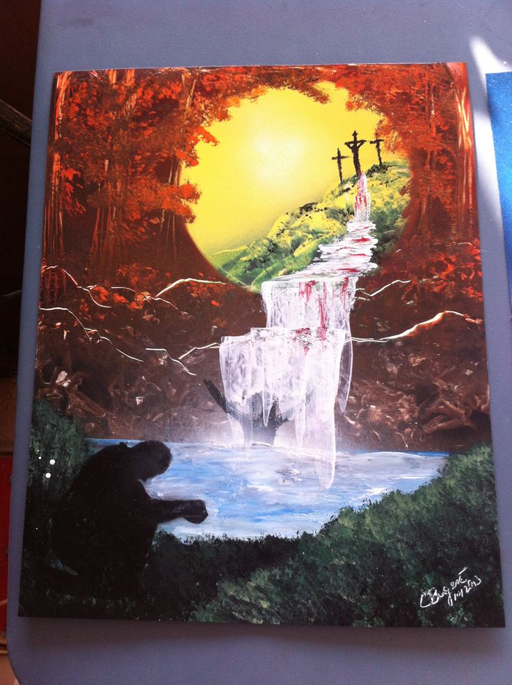 Christian art spray paint art- cross waterfall prayer