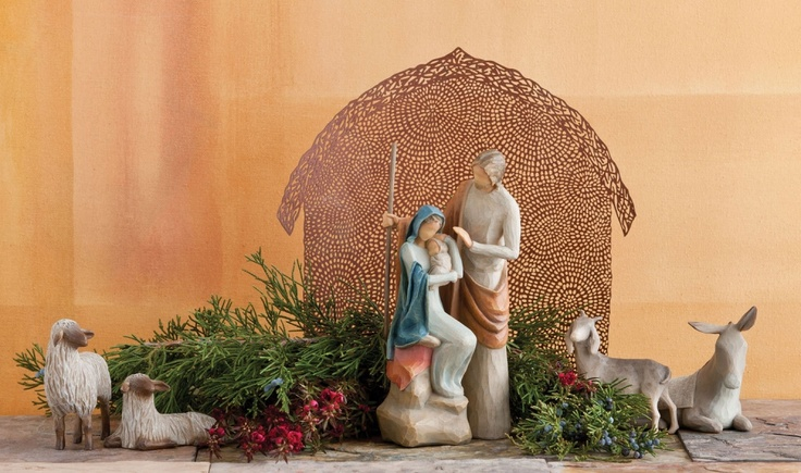 """This 7-piece Willow Tree nativity set includes The Holy Family (7.5"""" Tall), Sheltering Animals for The Holy Family (Tallest 3"""" H.) and Shelter for The Holy Family (9.5"""" Tall)."""
