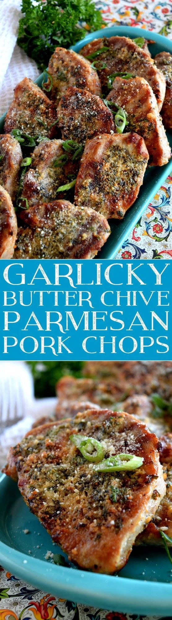 Grilled and then baked with a garlicky, cheesy, butter baste, Garlicky Butter Chive Parmesan Pork Chops are simple and rustic, uses common ingredients, and packs whole lot of flavour into each and every bite! Pork chops are a rare occurrence…
