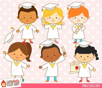 Graduation clip art - white - by Little Red's Schoolhouse $