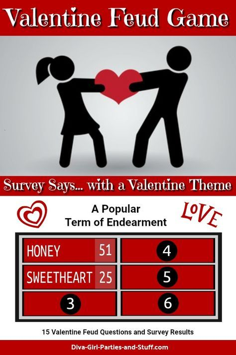 Internet survey results and instructions for a game of Valentine Feud. This Valentine Family Feud game is perfect for couple parties and Valentine parties.