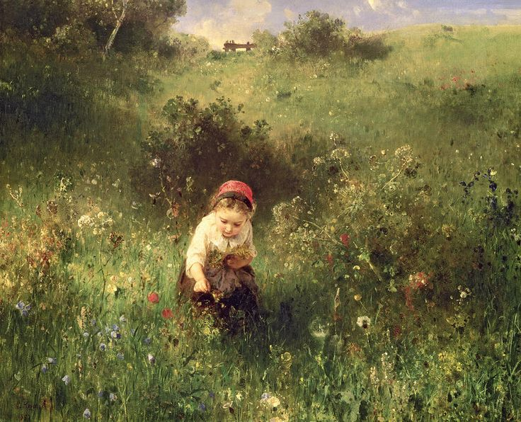 Wild Flowers; Solitude Painting - A Young Girl In A Field by Ludwig Knaus