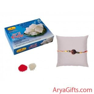 Send the best rakhi wishes to your dearest brother and show how much you will miss them on this Raksha Bandhan. Beautiful Rudraksh Rakhi with Agra Taj Petha 200 gm is delivered with free pack of Kumkum & Chawal.he design of Rakhi may differ as per the stock available.