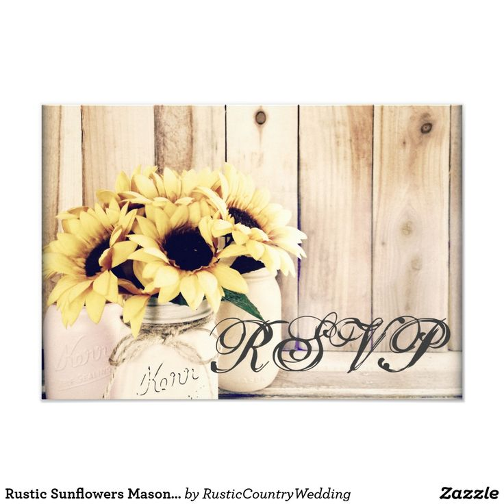 Rustic Sunflowers Mason Jar Wedding RSVP Cards Rustic Country Sunflowers Mason Jar Wedding RSVP reply cards with a rustic wood background and three mason jars with sunflowers. Two Sided Design. Easy to edit template for unique response cards for your country wedding. Matching Items: rustic wood rsvp cards, rustic sunflower rsvp cards, mason jar rsvp cards, country wedding rsvp cards