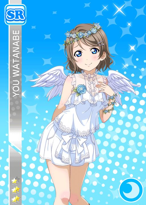 A collection of Watanabe You's cards in Love Live! School idol festival.