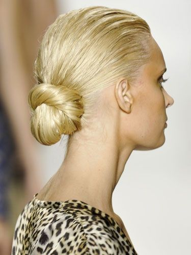 No time to blow dry in the morning? Smooth wet hair into a low bun. It will still look great long after it's dry!