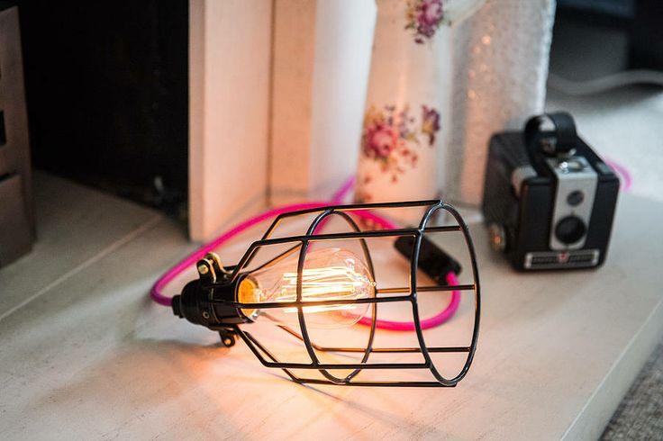 caged lamp with coloured cable by dowsing & reynolds | notonthehighstreet.com