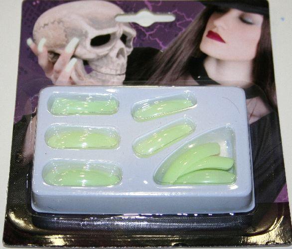 Unghie finta verdi fluorescenti, per travestimenti, Halloween e Carnevale.