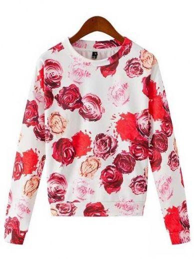 Wholesale Rose print long sleeve pullover short sweatshirt CY-M0110X1 - Lovely Fashion