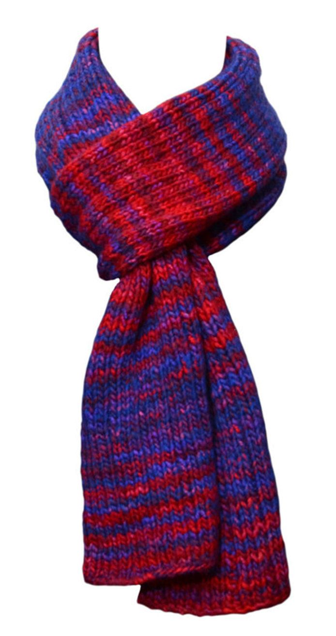 Hand Knit Scarf - Blue Red Rib Stripes Wool by StudioatRedTopRanch on Etsy