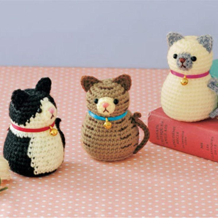 マトリョーシカ風のシルエットがかわいい!三種類のねこさんのあみぐるみの編み方(ニット・編み物) | ぬくもり