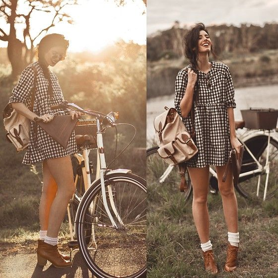 The White Pepper  Angel Dress Gingham, Choies Heeled Lace Up Ankle Boots, Choies Hand Crafted Leather Triangle Clutch, Brown & Beige Backpack, Small Round Shades