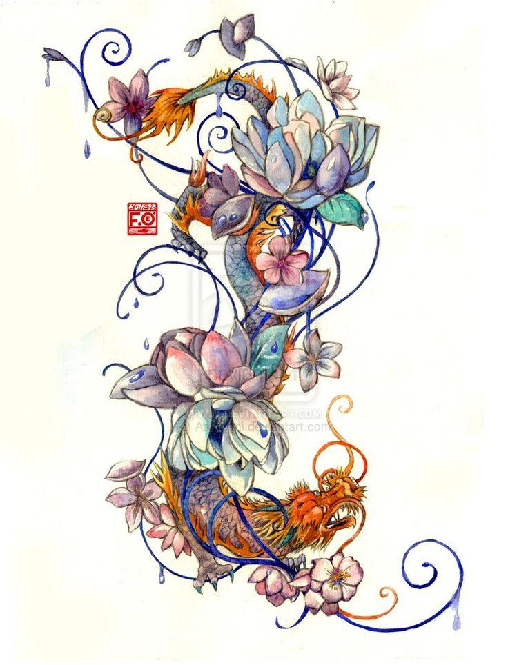 Tattoo Commission by Asfahani.deviantart.com on @deviantART Lotus flower, dragon, japanese