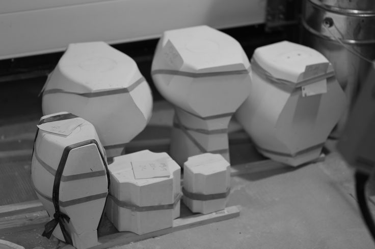 Some molds for creating repeatable shapes. After casting they need to be put upside down.  #sztukkilka #glaze #crystalline #ceramic #pottery #stoneware #porcelain #crystals #bottle #handmade #kiln #bisquite #studio #wheelthrowing