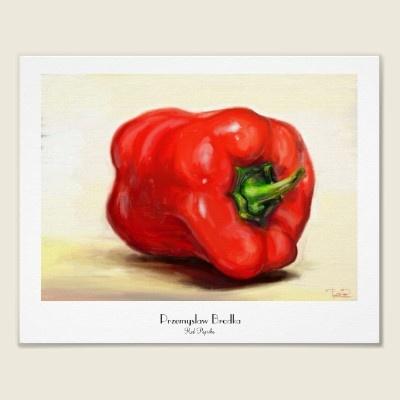 Red Paprika classic vegetable still life oil paint by TheGreatestTattooArt