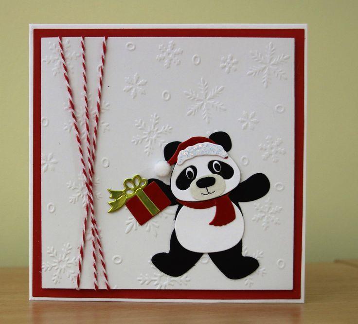 Christmas Card - Marianne Collectables Panda Die, Snowflake Embossed Background