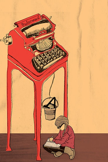 """""""The Type Writer"""" by Tanya Cooper //RedBubble. Is this what it would look like to install a font on a typewriter? Available as a card, poster, or print."""