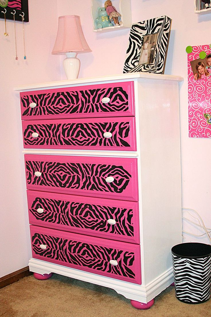 re-purposed dresser for my daughters ZEBRA room. The zebra stencil was purchased at Michael's Crafts. #Zebrabedrooms