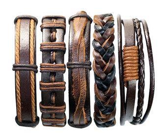 5 stuk handgemaakte lederen armband Sets 50 door BraceletStreetUSA