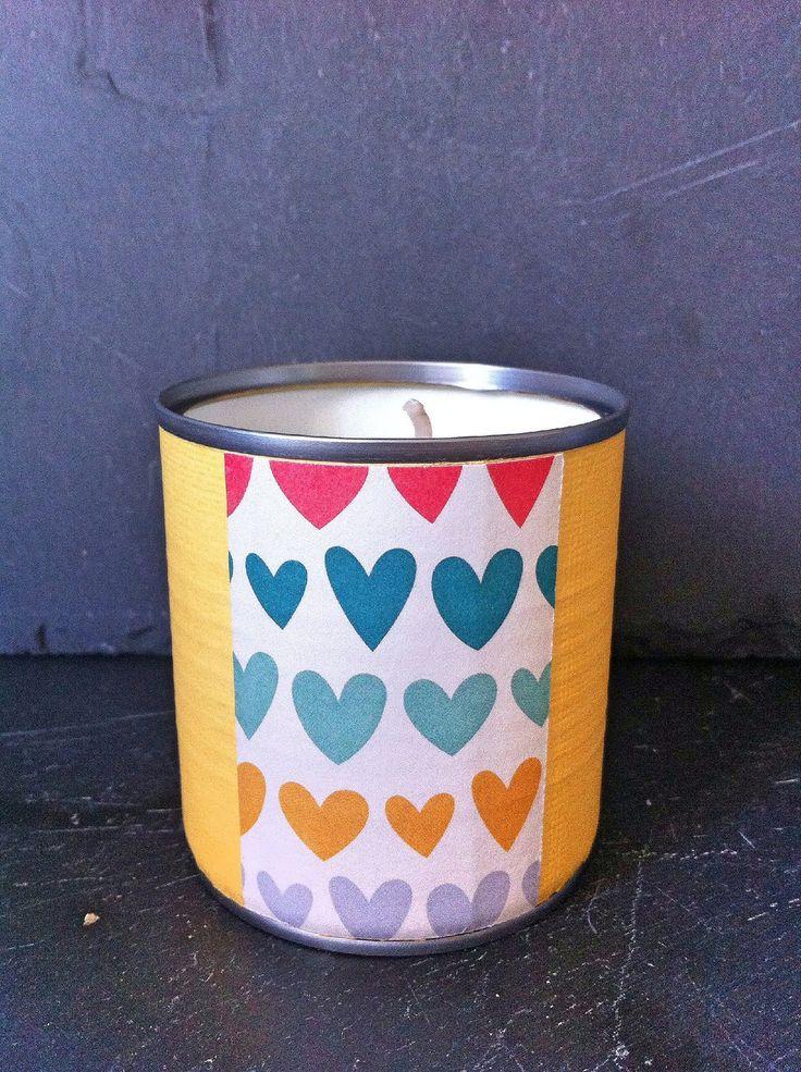 Petit bougie YELLOW HEART originale et décorative à la cire naturelle de soja et en métal recyclé. : Luminaires par maona-bougie