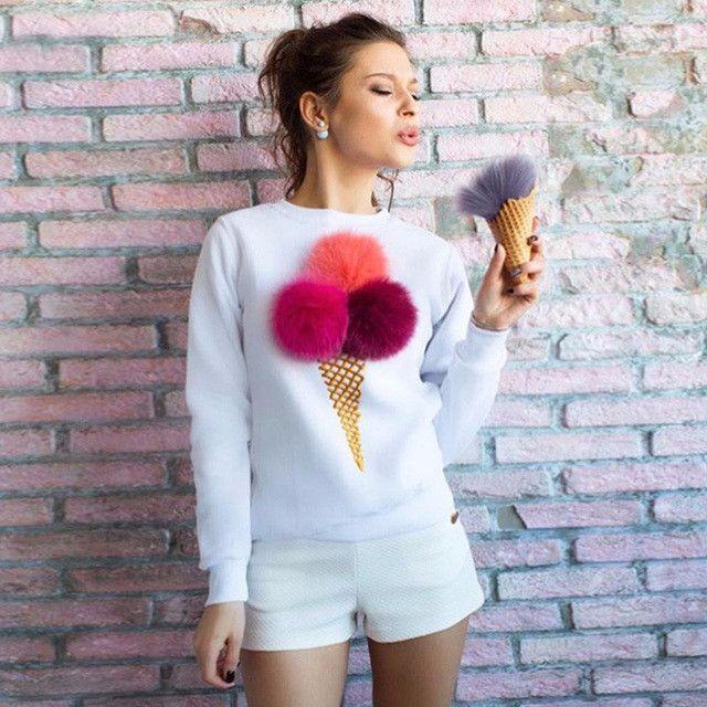 Russian Ladies Colorful Plush Ball Hoodies Autumn Novelty Causal Women's Sweatshirts Long Sleeve O-Neck Women Hoodies GV362