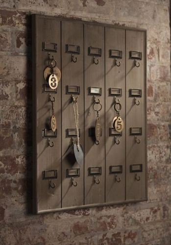 "Vintage inspired Hotel Key Rack created using recycled wood with brass hooks for all your keys in one place is perfect for the home or office. Measures 23.5""H x 19.5""W x 2""D"