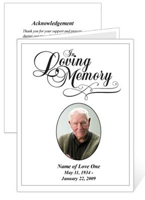 Memorial Cards : Loving Funeral Card Template With Preprinted Title