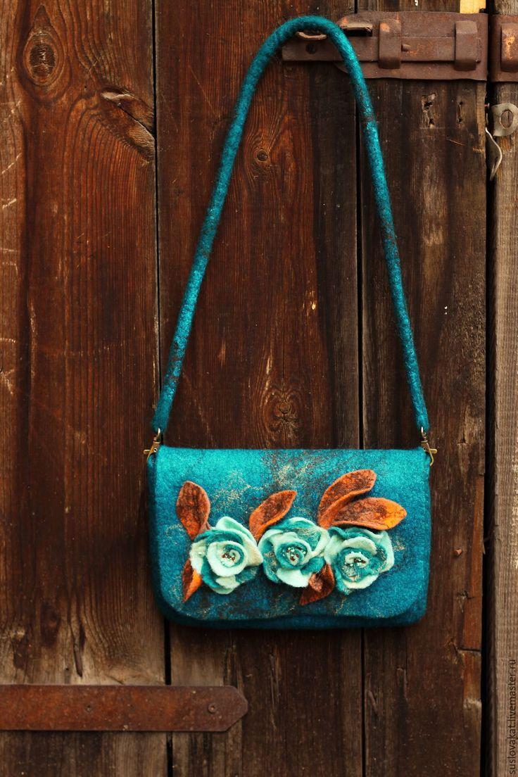 Felted bag | Купить Клатч с розами - морская волна, войлочный клатч, войлочный клатч с розами, женский клатч
