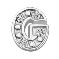 Silver G Initial Crystal Cz Floating Charms For Living Memory Locket