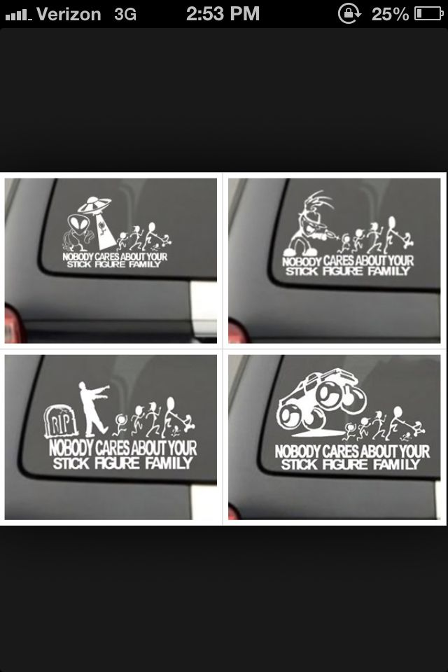 Nobody cares about your stick figure family car decals geeky stuff i like