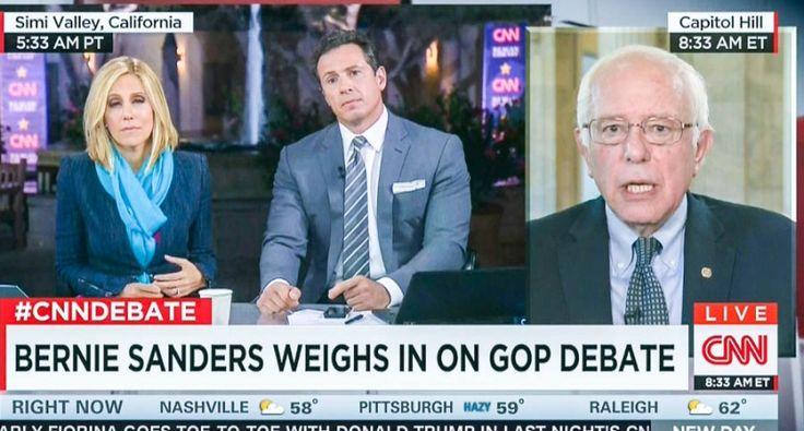 Bernie Sanders speaks to CNN (screen grab)'It was painful': Bernie Sanders tells CNN that GOP debate was so bad he had to turn it off David Edwards DAVID EDWARDS 17 SEP 2015 AT 09:58 ET