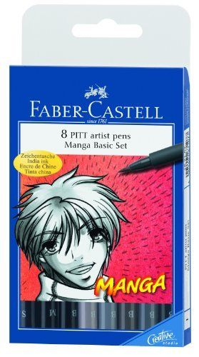 Faber-Castell Manga Pitt Artist Pens 8/Pkg 5 Shades Of Gray 3 Assorted Tip Black 167107 by Faber-Castell,